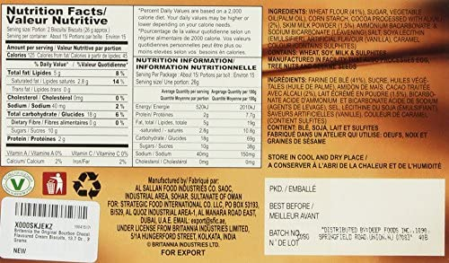 Britannia the Original Bourbon Chocolate Flavoured Cream Biscuits, 13 7  Oz , 390 Grams