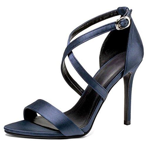 TAOFFEN Women Fashion Cross Strap Sandals Navy Blue