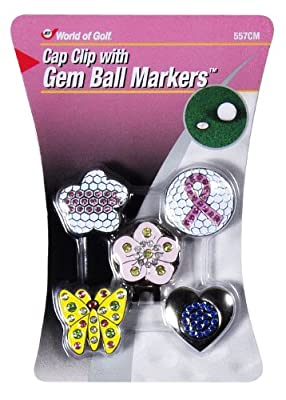 Golf Gifts and Gallery Cap Clip with Gem Ball Markers