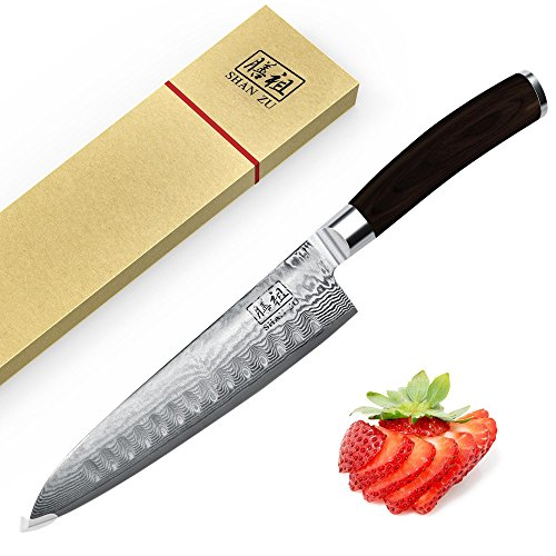 SHAN ZU Japanese Damascus Knife 8'' VG10 St...