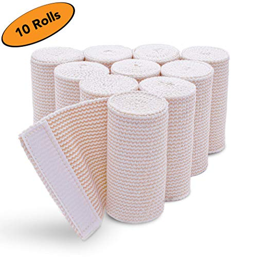 HOSPORA Cotton Elastic Bandage, 4 Inch x 15 feet Stretched Length with Ace Quality Hook and Loop Closure, Latex-Free Compression Bandage, 10 Rolls Pack