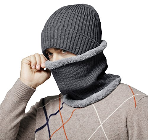 Bellady Winter Slouchy Beanie Hat Scarf Set Thick Warm Knit Skull Cap Scarf, - Block Reversible Knit Beanie