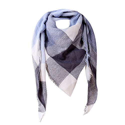 Women Scarf Realdo Triangle Wool Scarves Plaid Cashmere Shawl Autumn Blanket (Pointelle Wool)