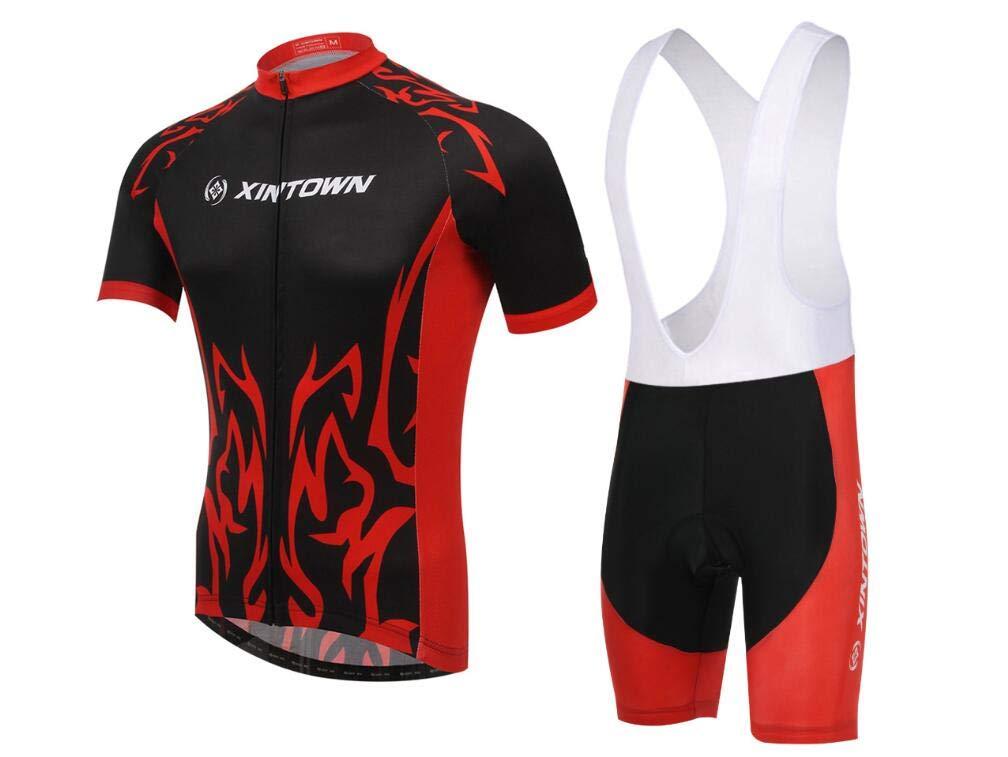 DUBAOBAO XINTOWN Herren Jersey Kurzarm Set Bike Suit Sommer Moisturizing Sportswear + 3D Kissen Rot