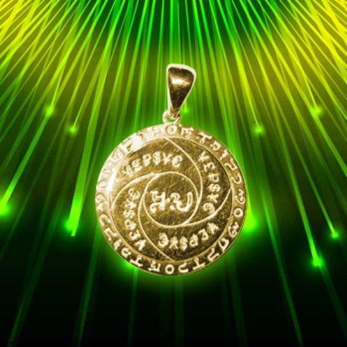 Amuleto Talisman denaro scudo d'argento + placcato oro