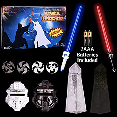 LED Laser Light up Sword Set Star Space War Warrior Fighter Children's Hero Role Play Set for Halloween, Cosplay, Includes Mask, Darts Weapon, Swords and Hooded Capes Costume - 10 PCs