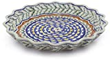 Polish Pottery 13-inch Fluted Pie Dish (Pine Boughs Theme) + Certificate of Authenticity