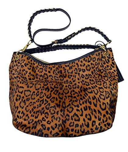 Ralph Lauren Purple Label Hair calf Leopard Chain Hobo Ba...