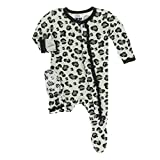 Kickee Pants Little Girls Print Muffin Ruffle Footie with Snaps - Aloe Cheetah Print, 3-6 Months