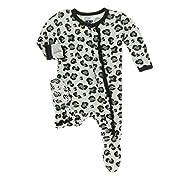 Kickee Pants Little Girls Print Muffin Ruffle Footie with Snaps - Aloe Cheetah Print, 3-6 Months