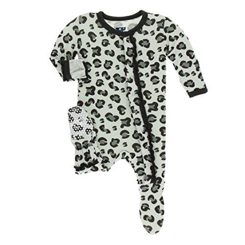 Kickee Pants Little Girls Print Muffin Ruffle Footie with Snaps - Aloe Cheetah Print, 0-3 Months