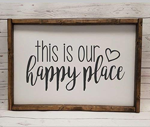 Farmhouse style, This is our Happy Place, chunky framed sign. Bible verse sign, handpainted sign ()