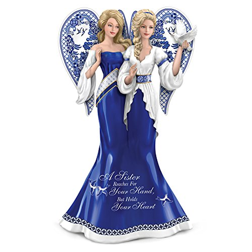 Sister Angel Figurine (Blue Willow Patterned Sister Angels Figurine with Sentiment by The Hamilton Collection)