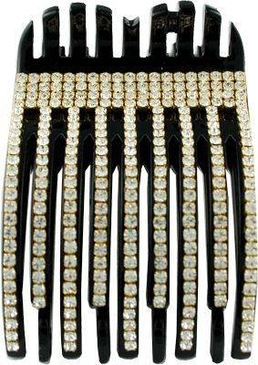 Mona Lisa Hair Accessory Rhinestone Comb Clamp Black Linear