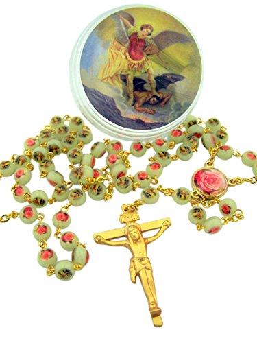 Luminous Saint Michael Rose Prayer Bead Rosary with Gold Tone Crucifix, 18 -
