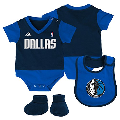 NBA Infant Dallas Mavericks Lil Jersey Creeper, Bib and Bootie-Dark Navy-24 Months