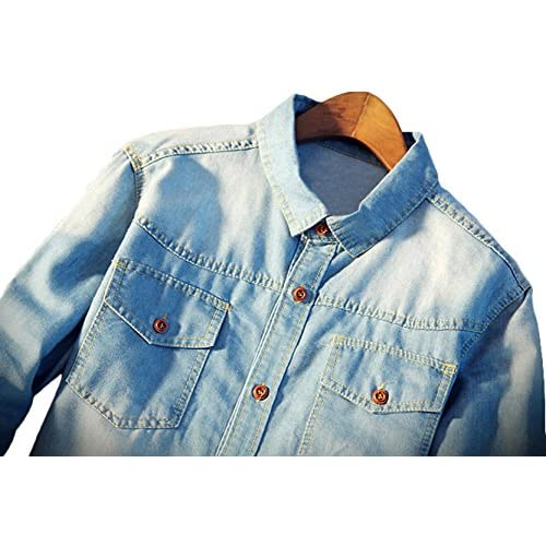 2dc4be43b4 Youhan Men s Vintage Fitted Long Sleeve Denim Shirt free shipping ...