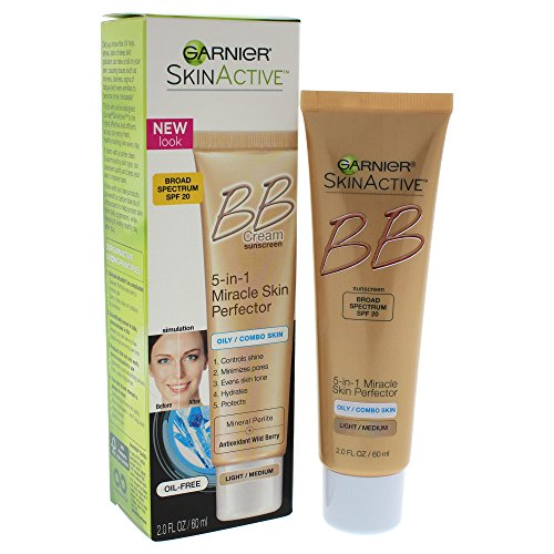Garnier SkinActive BB Cream Oil-Free Face Moisturizer, Light/Medium, 2 fl. oz. (Bb Cream For Oily Skin)