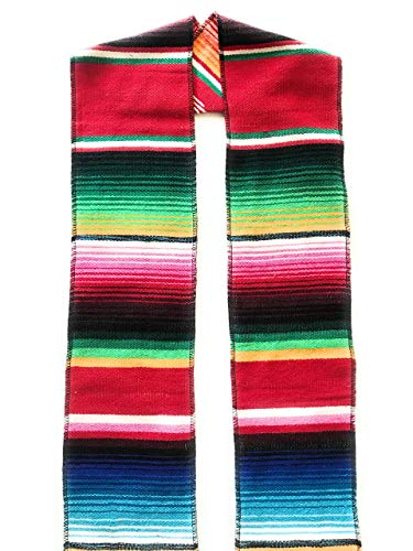 Authentic Mexican Serape Stole Sash For Graduation by Mexitems (Pick Your Color) (Red) -