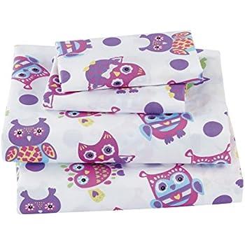 mk collection 4 pc sheet set full size owl purple pink green white owl white