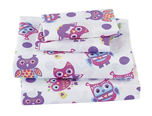 Mk Collection 4 pc Sheet Set Full size Owl Purple Pink Green White # Owl White New (Full)