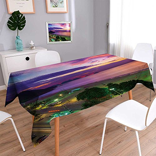 Philiphome Decorative Jacquard Rectangle Tablecloth Sunset on Copacabana and Leme Beach in Rio de Janeiro,Brazil Table Cover for Dining Room and Party 60
