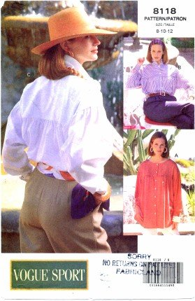 Vogue Sport 8118 Sewing Pattern Misses Loose-Fitting Shirt Size 8 - 10 - (Uncut Vogue Sewing Pattern)