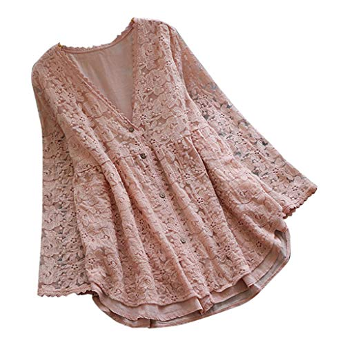 QIQIU Womens New Sexy Elegant Lace Button Decor Linen Vintage Casual V-Neck Loose Shirt Blouses Top T-Shirt Pink