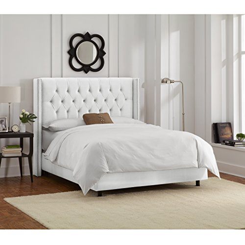 Skyline Upholstered Diamond Tufted Wingback Nail Queen Bed in (Skyline Upholstered Bed)