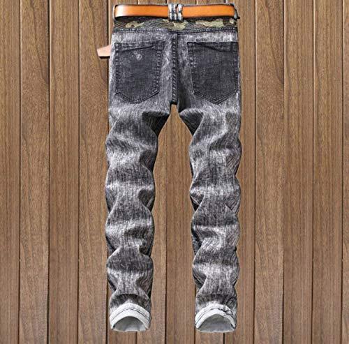 Jeans Cinturino 5 Especial Estilo Midi Pantaloni Stretch Senza Slim Fit Skinny Di Da Dritti Uomo Regular xwr40xZq