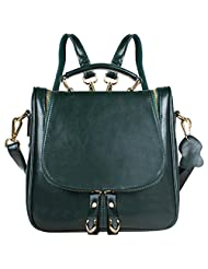 S ZONE Ladies Small Leather Cross Body Handbag Backpack (Green)