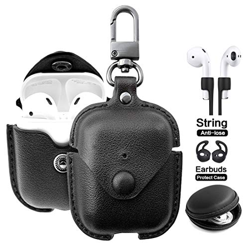 - Airpods Leather Case with Strap Kit and Keychain Accessories, Houbox Full Protective Airpod Case for Birthday Compatible Apple Airpods Charging Case (Black)