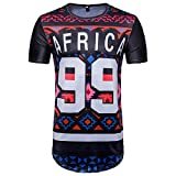 SportsX Mens African Ethnic Style Floral Print Short Sleeve Hip Hop Dashiki Pullover Fit Tees As Picture 2XL