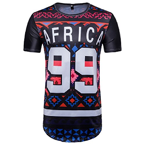 SportsX Mens African Ethnic Style Floral Print Short Sleeve Hip Hop Dashiki Pullover Fit Tees As Picture 2XL by SportsX