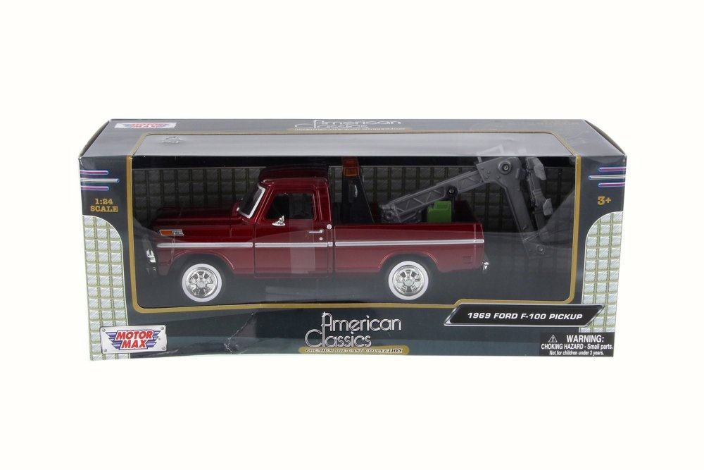1//24 Scale Diecast Model Toy Car Motor Max 75345AC 1969 Ford F-100 Pickup Tow Truck Burgundy
