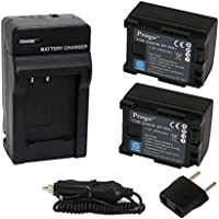 Progo Power Pack (Two Li-Ion Rechargeable Battery and Pocket Travel AC/DC Wall Charger with Car Adapter & US to European plug) for Canon BP-808, BP-809. Works on Canon FS10 FS11 FS100 FS21 FS22 FS200 FS31 FS300, VIXIA HF10 HF11 HF100 HF20 HF200 HF S10 S100 S20 S21 S200 HG20 HG21 HG30 G10 M30 M31 M300 M30 M31 M32 M40 M41 M400 XA10 and more.