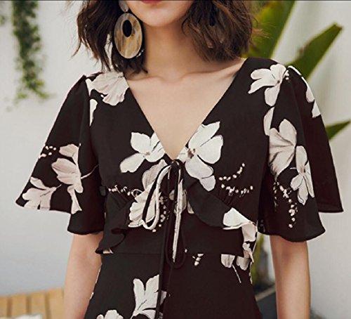 Dress 1 Neck s Print Floral Jaycargogo Dress Short Women Sleeve Bandages V Maxi Beach OqTqxXta