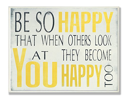 Stupell Home Décor Be So Happy Typography Wall Plaque, 10 x
