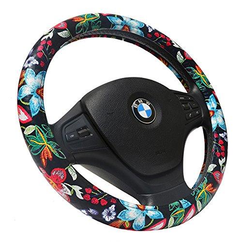 - Black Cute Flowers Cute Personalized Car Steering Wheel Cover 15