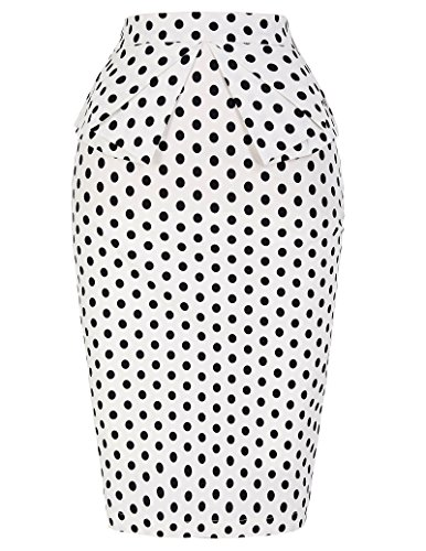 (PrettyWorld Vintage Dress Women Retro Cotton Polka Dots Skirt Knee Length Pencil Skirt (S) KL-9 CL8928)