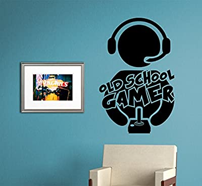 Old School Gamer Vintage Video Game Decal Sticker Wall Boy Girl Teen Child Sport Fight