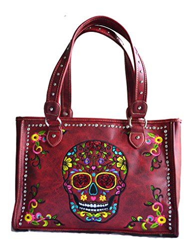 (sugar skull day of the dead embroidery gun concealed carry handbag purse)