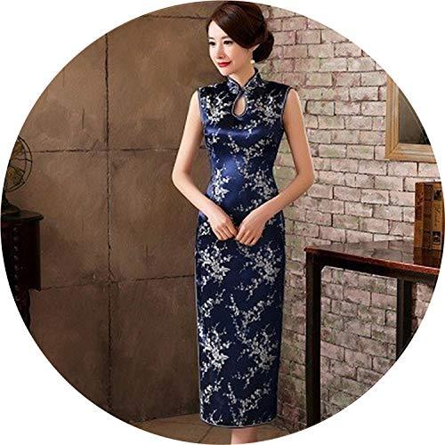 Chinese Dress Qipao Satin Robe Rouge Evening Cheongsam Dresses Sleeveless Traditional Vintage Pink Qipao Dress,Deep Blue,XL