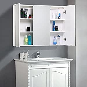 Go2buy Medicine Cabinet Mirror With 3 Doors 35 1 X 4 5 X 25 4 39 39 White Home Kitchen