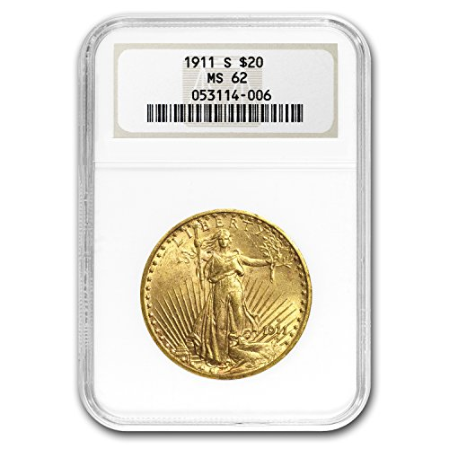 1911 S $20 St. Gaudens Gold Double Eagle MS-62 NGC G$20 MS-62 NGC