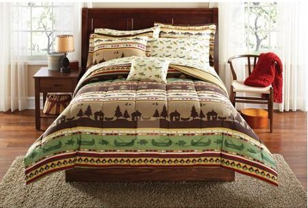 KING SIZE Fishing, Camping, Cabin Bed in A Bag Coordinated Bedding Set - 8 Piece set. Ideal For Your Cabin Bedding. King Size Comforter and King Size Sheets, 2x Pillow Shams, 2 x Pillow Cases and 1 Oblong Decorative Pillow.