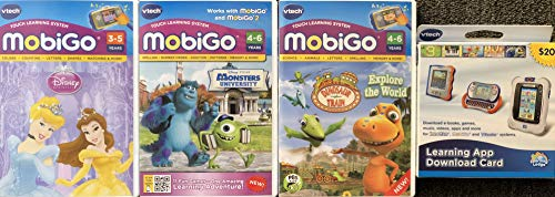 MobiGo Vtech Touch Learning System Bundle Includes: 3X Games - Disney Princess, Dinosaur Train, Monsters University & $20 Download Card (Bundle ()