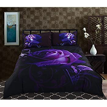 Alicemall King Size 3D Flower Purple Bedding Set Big Purple Rose with  Dewdrop 5 Piece. Amazon com  Alicemall King Size 3D Flower Purple Bedding Set Big