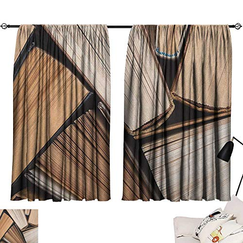 (Warm Family Abstract Blackout Curtains Pile of Old Books Research Reading Library Education Literature Theme Picture Darkening and Thermal Insulating 72