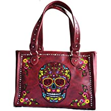 sugar skull day of the dead embroidery gun concealed carry handbag purse